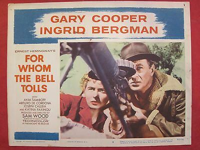 2 lobby cards FOR WHOM THE BELL TOLLS 1957 GARY COOPER - INGRID BERGMAN