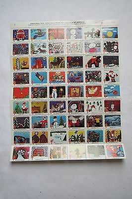"""Vintage 1977 US Postage Stamps """"CHRISTMAS SEALS AMERICAN LUNG"""" Sheet of 54"""