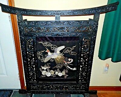 Antique Rare 1890's Large Asian Hand Carved Handmade Silk Fireplace Screen