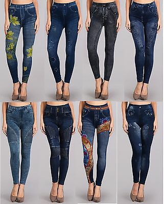 Fancy Print One Size Fits all Leggings Jean Denim Look  Distress Stretch Pant