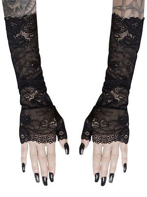 Black Lace Mesh Long Fingerless Gloves Arm Warmers Gothic Witchy Victorian