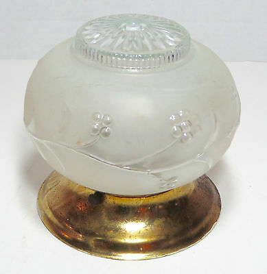 VTG. ART DECO FROSTED and CLEAR GLASS CEILING LIGHT FIXTURES BRASS CAP