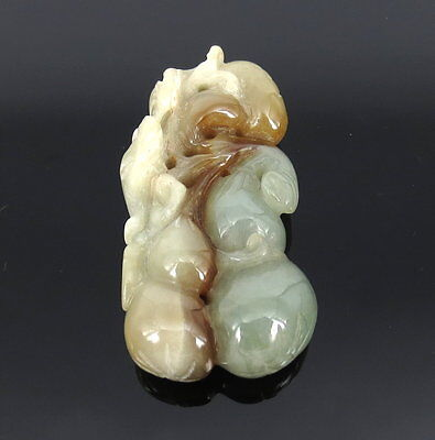 Vintage Natural Multi Color Jadeite Jade Bird & Fruit of Life Netsuke Carving