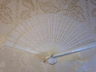 Vintage WHITE LACE DANCING GIRLS HAND HELD FAN PLASTIC