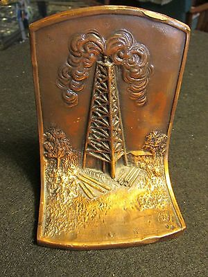 antique vintage copper oil well gas well drilling rig gusher K & O Co. bookend