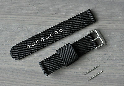 20/22mm 2 Piece Black Nylon Canvas Fabric Replacement Watch Strap Band