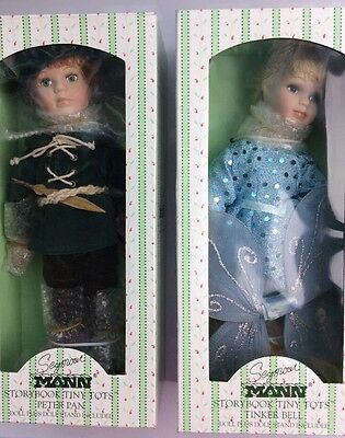 """Peter Pan & Tinkerbell Handpainted dolls by Seymour Mann 9"""" Storybook Tiny Tots"""