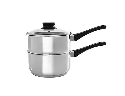 2 Tier Level Steamer Set Saucepan Pot Cookware Vegetable Steam Double 18Cm