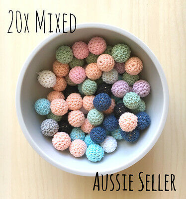 20x MIXED Crochet wood beads 16mm knit wooden teething DIY jewellery toy baby