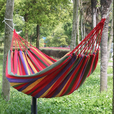 Summer's Outdoor Garden Back Yard Travel Camping Colour Stripe Hammock Hang Bed