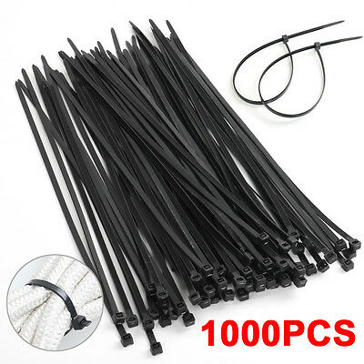 "1000 PCS Pack 11"" Black Network Cable Cord Wire Tie Strap 53 Lbs Zip Nylon Wraps"