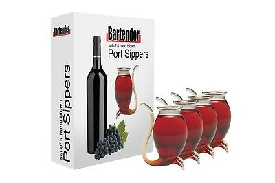 PORT SIPPERS Glass Decanter White Red Wine Pipe Liqueurs Sipper Set of 4 Boxed