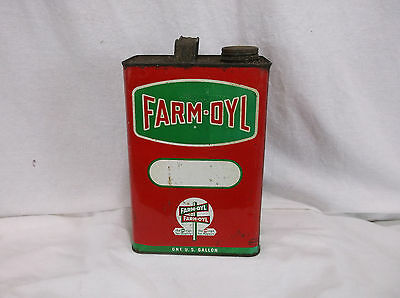 Vitnage Antique Farm Oyl 1 Gallon Motor Oil Lubracant Service Station Gas Can