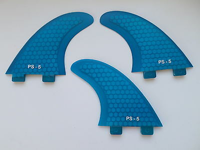 PERFORMANCE CORE surfboard THRUSTER FINS blue (set x 3) hexcore FCS compatibl