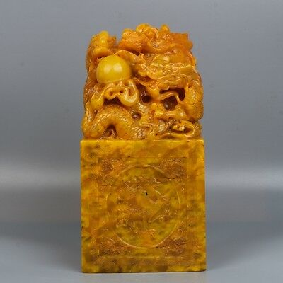 China exquisite hand-carved Dragon & Four God beast pattern Shoushan Stone seal