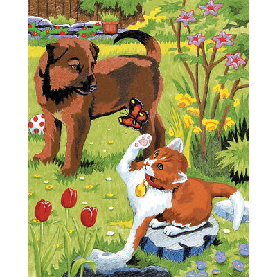 """Color Pencil By Number Kit 8.75""""X11.75"""" Kitten & Puppy CPBNK-3"""