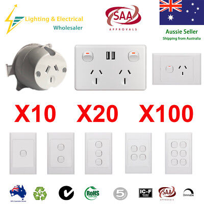 10 Amp 250V Double Power Point Wall Socket outlet light switch Plate USB
