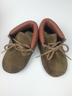 Vintage Baby Deer Shoes Booties Size 3 Green-ish Brown Leather NEW