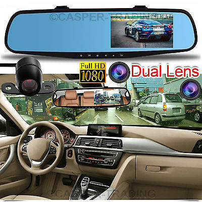 "HD 1080P 4.3"" Dual Lens Car DVR Dash Cam Video Camera Recorder Rear View Mirror"