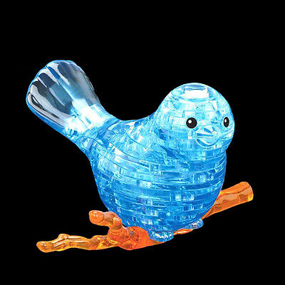 3D Crystal Puzzle Jigsaw Model Blocks Lovely Gifts Bird Blue with Color Lights
