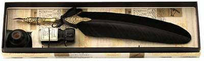 Coles Calligraphy Pewter Feather Quill and Holder Set - Black/Gold