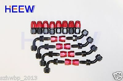 AN8 8AN JIC-8 Fuel Swivel Fittings Hose End Oil Fuel Adaptor Red & BlACK 16pcs