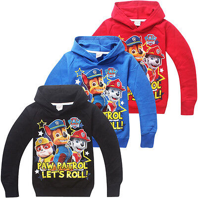XMAS GIFT  PAW PATROL LET'S ROLL HOODIE BOYS GIRLS Dogs CLOTHING TOP JUMPER 2-8Y
