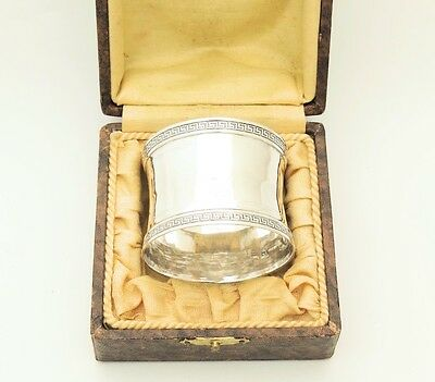 Early 19C Antique French Sterling Silver Napkin Ring Holder 950 w/Box Vieillard