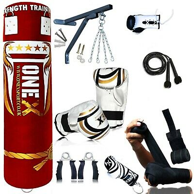 OneX 14 Piece Boxing Set 5ft Filled Heavy Punch Bag Gloves,Chains,Bracket,Kick.