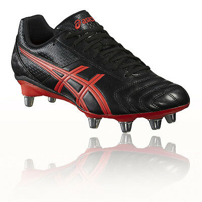 Asics Lethal Tackle Hommes Rouge Noir Sport Baskets Crampons Rugby Chaussures