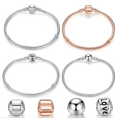 Silver Plated European Love Charms Beads Bracelet Snake Chain Clasp Accessories