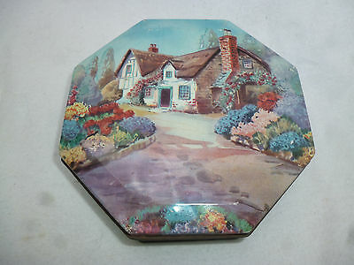 VINTAGE 1950s GJ COLES EMBASSY 8 oz TOFFEE TIN - Thatched English Cottage