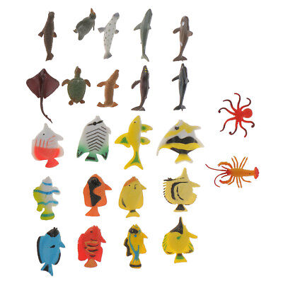 24x Plastic Marine Animal Dolphin Angel Fish Ocean Creatures Kids Model Toys
