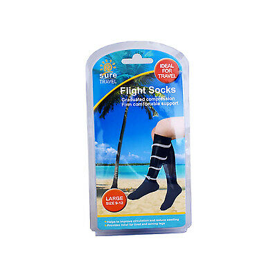 Sure Travel Flight Socks LARGE Size 9-12 - Circulation Flying Graduated Support