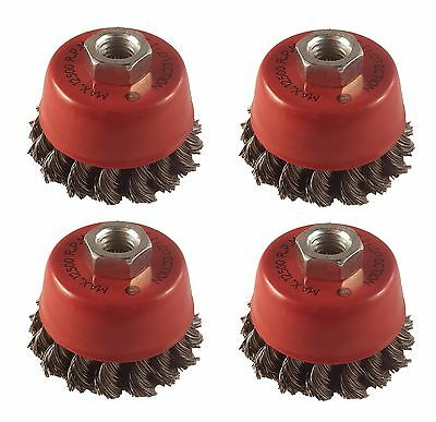 "4 xTwist Knot Wire Wheel Cup Brush 3"" M14 for 4.5"" 115mm 9"" Angle Grinder"
