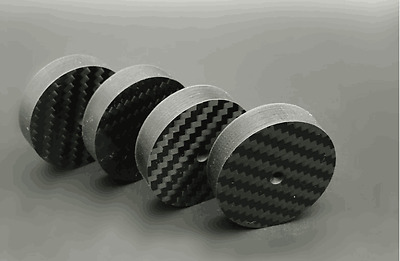4 x Black Carbon Fiber Speaker Spike Cone Pad Isolation Base Feet 40x10mm