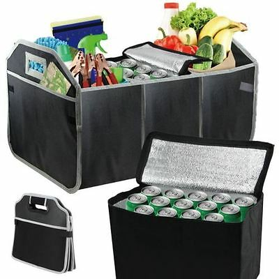 3 In 1 Car Boot Organiser Foldable Shopping Tidy & Thermo Cool Bag With Pockets