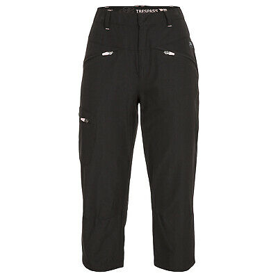 Trespass Easher Womens Black Cropped 3/4 Length Walking Outdoor Active Trousers