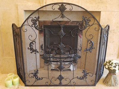 """""""The Pinewhistle House"""" Midnight Black Ornate Fireguard Or Firescreen"""