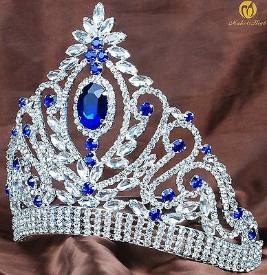 Princess Blue Tiara Hair Crown Crystal Headband Wedding Bridal Pageant Costumes