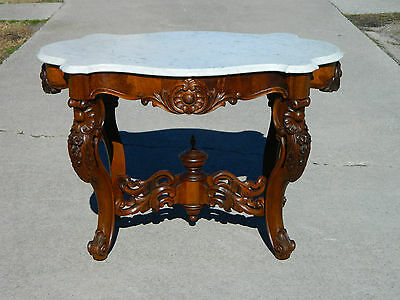 Victorian Walnut Marble Top Table circa 1865
