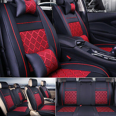 Durable PU Leather + Comfortable Mesh 5-Seat Auto Car Seat Covers Black/Red Set