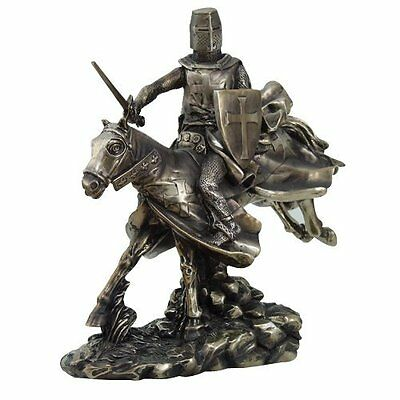 """9956 Crusader Knight Riding A Horse With Sword Statue Figurine - 9"""" - FREE S&H"""