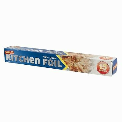 3x Aluminium/Cling Film Kitchen Catering Foil Tin Food Oven Baking Wrap 30cmx15m