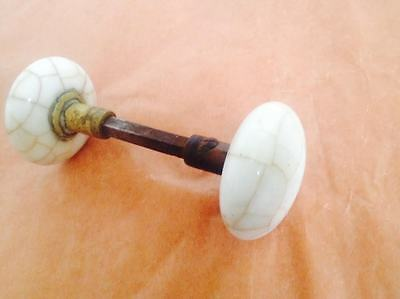 Antique Vintage Victorian Era Porcelain & Brass Door Knob Rare