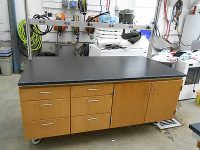 Lab Work Bench Table With Power Bar Light & Fixtures And Upper Shelf #1