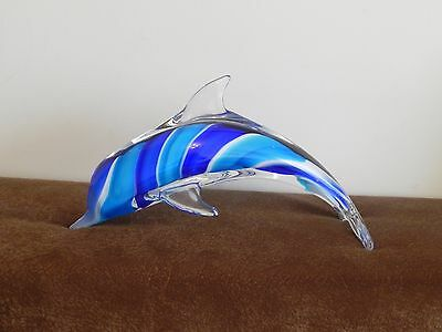 ART GLASS DOLPHIN FIGURINE STATUE FIGURE JUMPING BLUE LARGE 12in