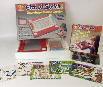 Ohio Art Etch a Sketch LOT Drawing and Game Center w/ 18 Games and Puzzles RARE