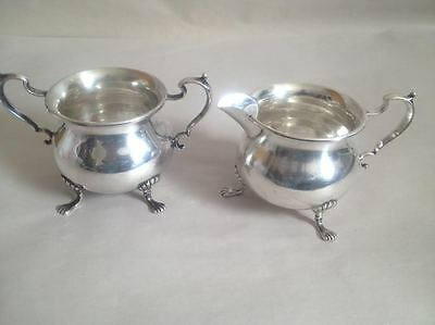 Antique Sterling Silver Footed Sugar And Creamer By Hunt Not Weighted Vintage