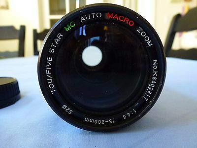 TOU/FIVE STAR AUTO MACRO ZOOM Lens 75-200mm 1:4.5 for CANON 35mm Film Camera